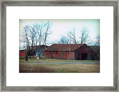 Ragged Red Shed I Framed Print by Paulette B Wright