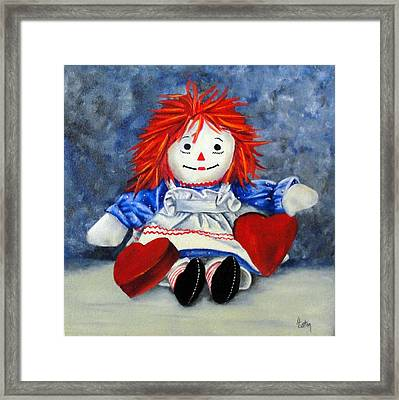 Raggedy Ann With Hearts Framed Print by Helen Eaton