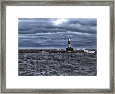 Framed Print featuring the photograph Raging Lake Michigan  by Ricky L Jones