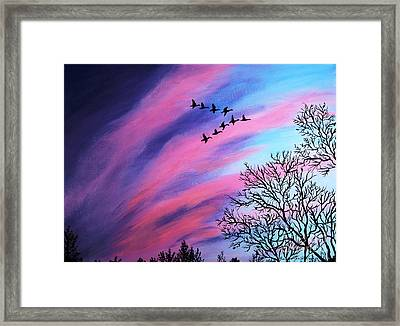 Raging Sky And Canada Geese Framed Print