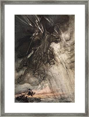 Raging, Wotan Rides To The Rock! Like Framed Print by Arthur Rackham