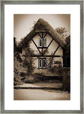 Rags Corner Cottage Nether Wallop Olde Sepia Framed Print