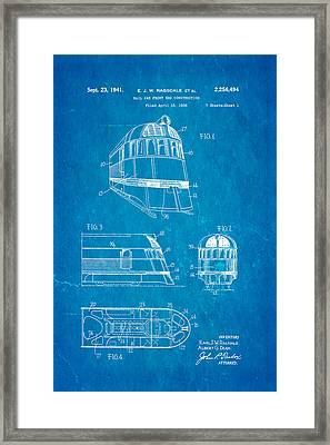 Ragsdale Pioneer Zephyr Train  3 Patent Art 1941 Blueprint Framed Print