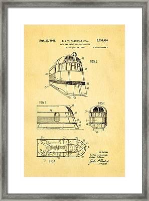 Ragsdale Pioneer Zephyr Train 3 Patent Art 1941 Framed Print by Ian Monk