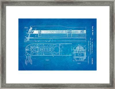 Ragsdale Pioneer Zephyr Train Patent Art 1941 Blueprint Framed Print