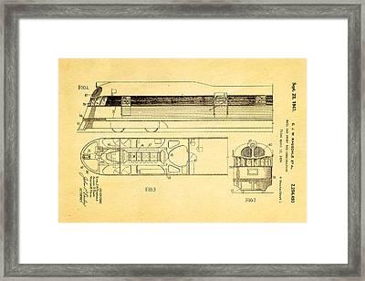Ragsdale Pioneer Zephyr Train Patent Art 1941 Framed Print by Ian Monk