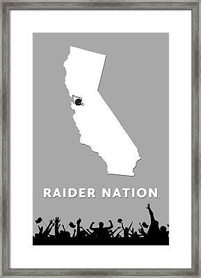 Raider Nation Map Framed Print by Nancy Ingersoll
