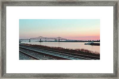 Framed Print featuring the photograph Rail Along Mississippi River by Charlotte Schafer