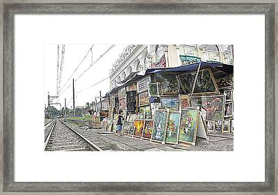 Rail Child And Painting Framed Print by Achmad Bachtiar