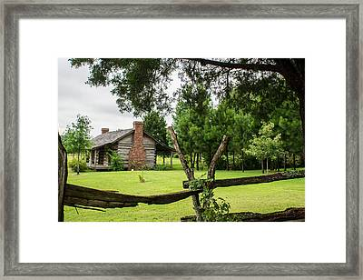 Rail Fence And Cabin Framed Print by Douglas Barnett