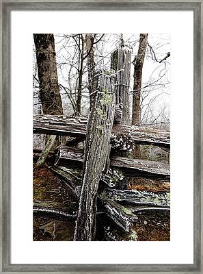 Rail Fence With Ice Framed Print by Daniel Reed