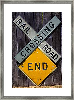 Rail Road Crossing End Sign Framed Print by Garry Gay