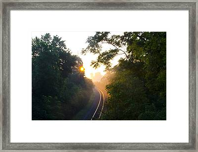 Rail Road Sunrise Framed Print by Bill Cannon