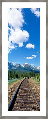 Rail Road Tracks Banff National Park Framed Print by Panoramic Images