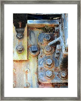 Rail Rust - Abstract - Nuts And Bolts Framed Print by Janine Riley