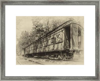 Railcar And Caboose Framed Print by Larry Helms