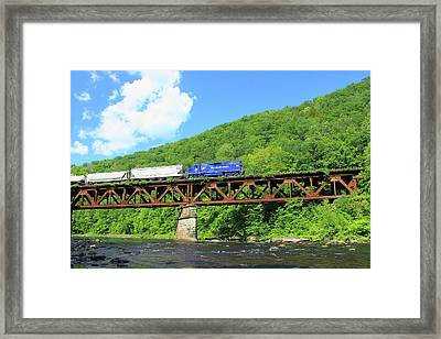 Railroad Bridge At Bardwells Ferry Deerfield River Framed Print by John Burk