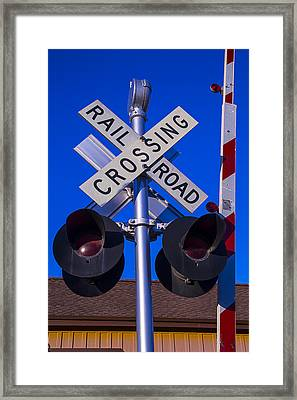 Railroad Crossing Framed Print by Garry Gay