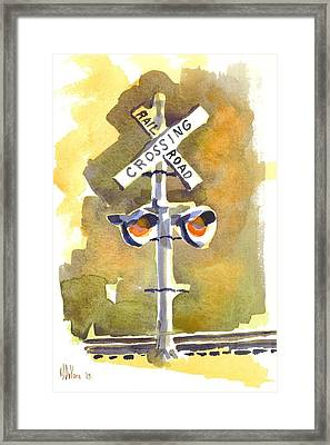 Railroad Crossing In Arcadia Framed Print by Kip DeVore