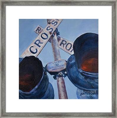 Railroad Crossing Framed Print by Janet Felts