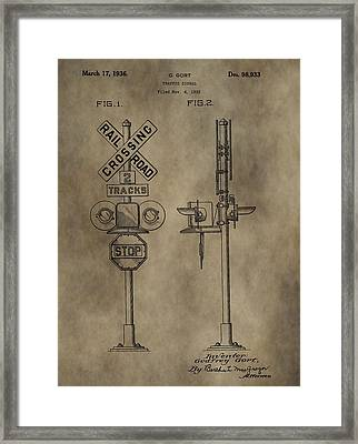 Railroad Crossing Patent Framed Print by Dan Sproul