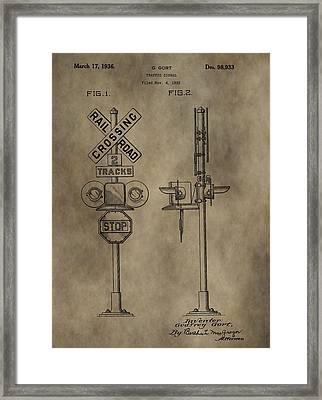 Railroad Crossing Patent Framed Print