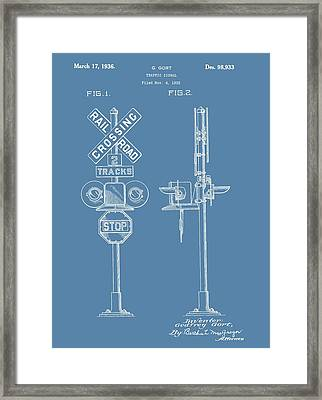 Railroad Crossing Patent On Blue Framed Print by Dan Sproul