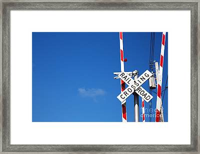 Railroad Crossing Sign Framed Print by Jane Rix