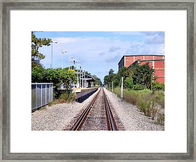 Railroad Depot At Cordage Park Framed Print by Janice Drew