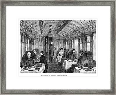Railroad Dining Car, 1879 Framed Print