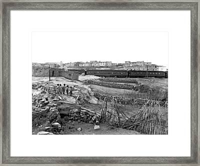 Railroad In Laguna Pueblo Framed Print by Underwood Archives