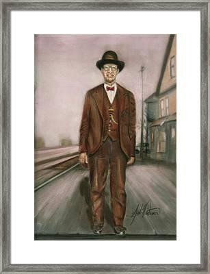 Railroad Man Framed Print by Leah Wiedemer