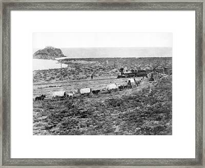 Railroad Meets Wagon Train Framed Print by Underwood Archives