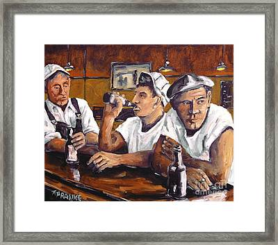 Railroad Men At The Bar By Prankearts Framed Print