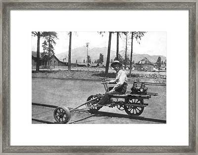 Railroad Outrigger Bike Framed Print by Underwood Archives