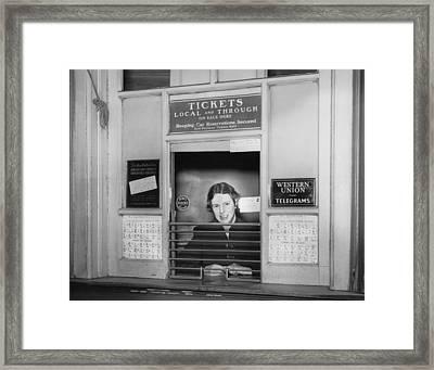 Railroad Ticket Window Framed Print by Underwood Archives
