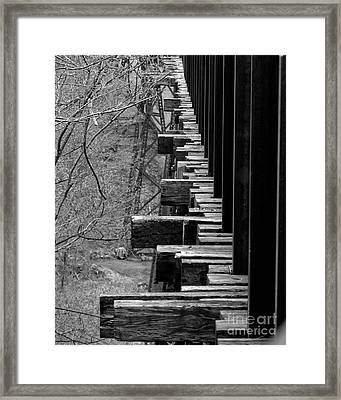 Framed Print featuring the photograph Railroad Ties On Trestle Bridge by Kristen Fox