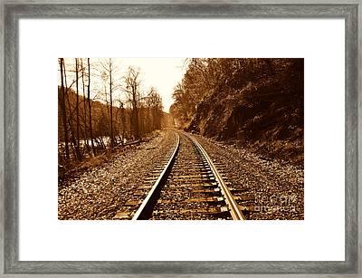 Railroad Track Framed Print by Cheryl Boutwell