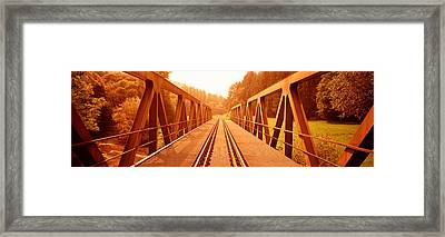 Railroad Tracks And Bridge Germany Framed Print by Panoramic Images