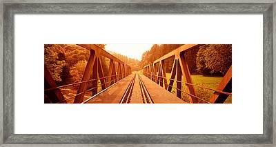Railroad Tracks And Bridge Germany Framed Print