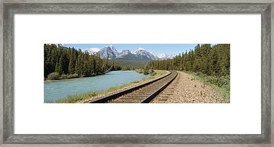 Railroad Tracks Bow River Alberta Canada Framed Print