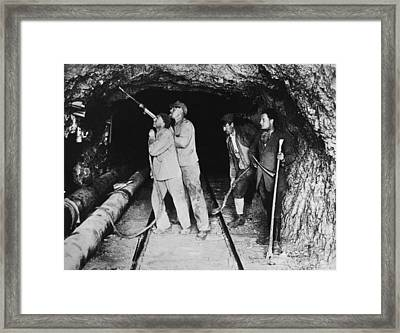 Railroad Tunnel In The Alps Framed Print by Underwood Archives