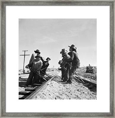 Railroad Workers Framed Print by Jack Delano