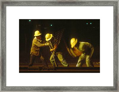 Framed Print featuring the photograph Railroad Workers by Mark Greenberg