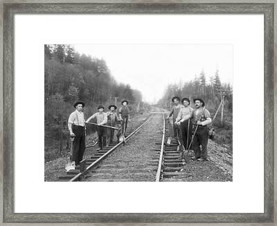 Railroad Workers Framed Print by Underwood Archives