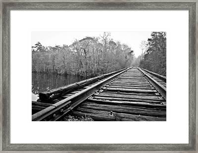 Rails Over Water Framed Print