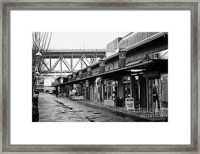 railspur alley home to various artisan and artists shops stores and galleries Vancouver BC Canada Framed Print