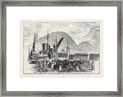 Railway Enterprise In New Zealand, Hoisting The First Truck Framed Print by New Zealand School