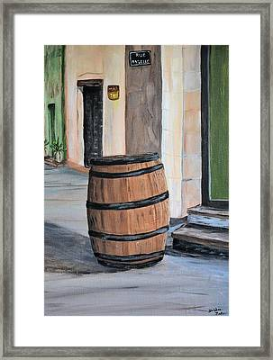 Framed Print featuring the painting Rain Barrel by Debbie Baker