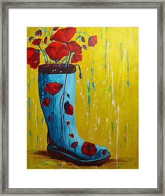 Rain Boot Series Unusual Flower Pots Framed Print by Patricia Awapara